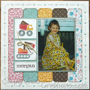 love this photo - using a typical boy stamp on a girls layout