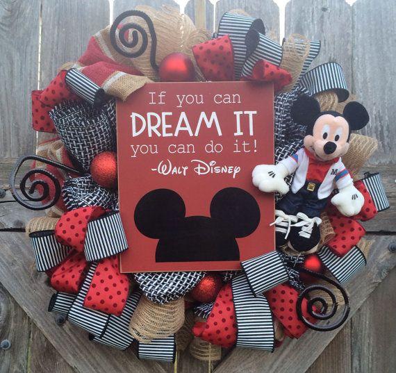 Teacher Wreath Disney Theme School Wreath Mickey by BaBamWreaths