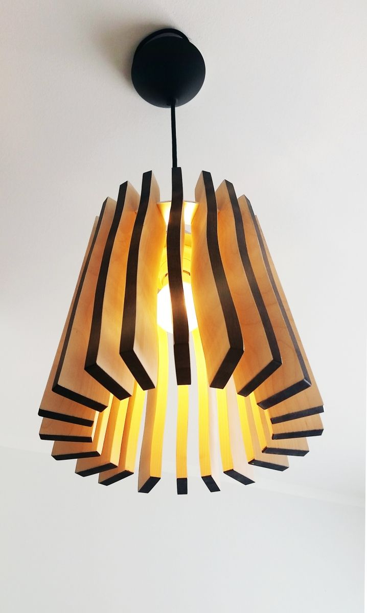"""Bottom of our wooden lamp """"Wellamo""""."""