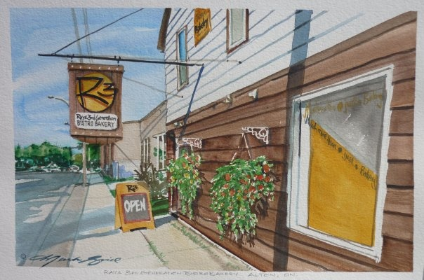 Ray's 3rd Generation Bakery Bistro in Alton, Caledon - painted by Mark Grice.  It's where we eat and this painting is on our wall!