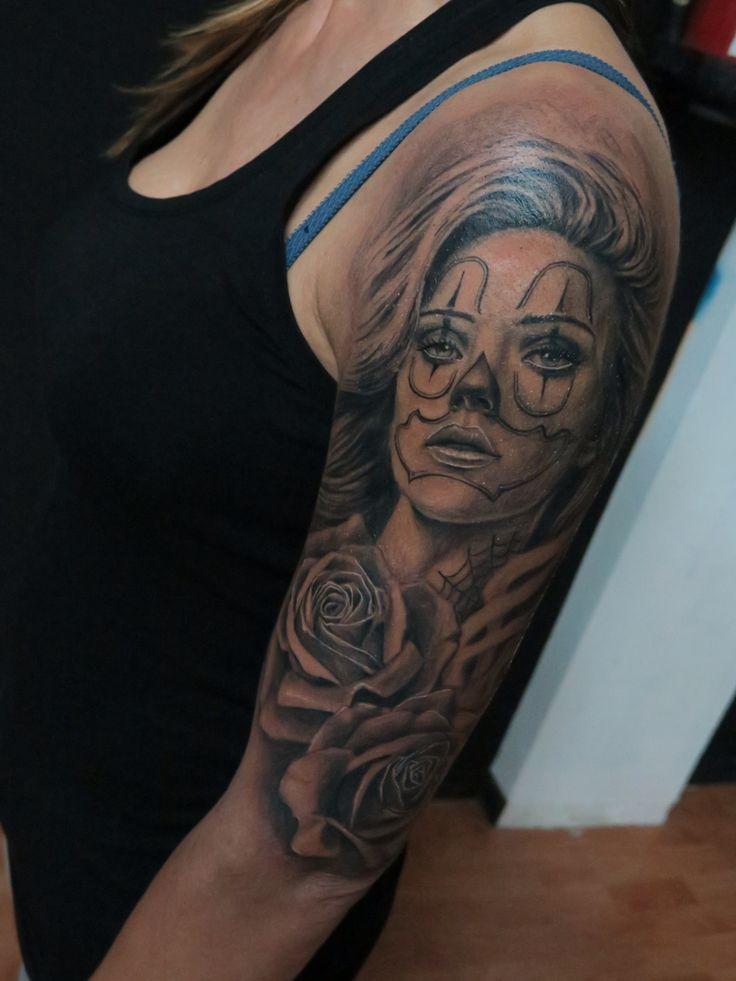 #chicanotattoo #realistictattoo #tattoo #jokergirl #inked
