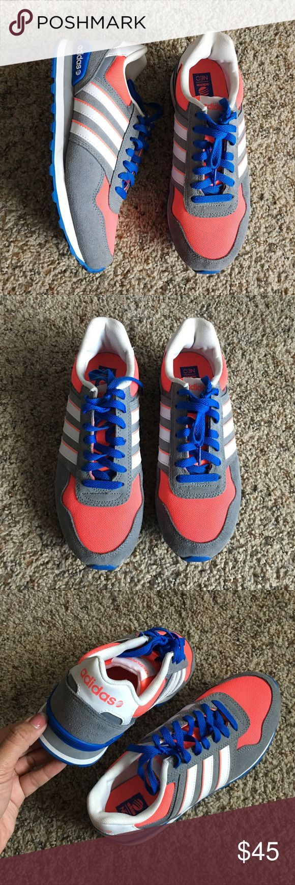 Adidas Neo Ortholite 10k Running Shoes Lightly used in very good condition adidas running shoes, comfort and style combined! Super cute and comfy! Perfect colors for the season. Women's size 7 and true to size Adidas Shoes Athletic Shoes