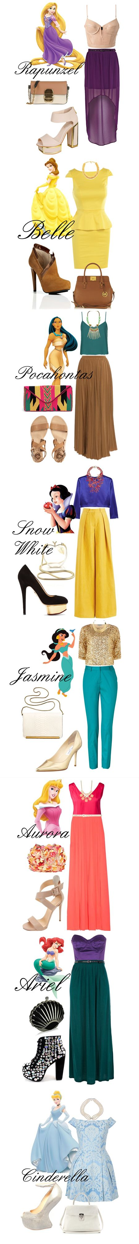 Disney Princess Inspired Outfits. I like all of them but I would probably change the shoes and purse on Belle's  make the dress longer with Cinderella. However, I have NO idea how you would wear Cinderella's shoes! :-