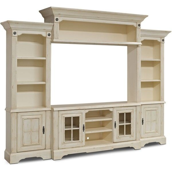 "Highland 4-Piece Entertainment Centre with 66"" TV Opening ❤ liked on Polyvore featuring home, furniture, storage & shelves, entertainment units, antique white furniture, ivory furniture, beige furniture, cream furniture and antique white tv console"