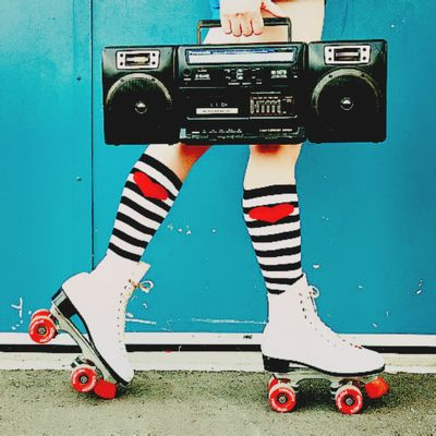 Listening to the mixed tape while rollerskating ;) via funnywestling.tumblr