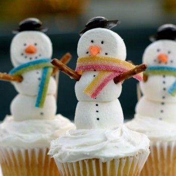 Snowmen Cupcakes - Pretzel Recipes curated by SavingStar. Save money on your groceries with eCoupons at savingstar.com