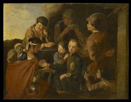 """Giacomo Francesco Cipper detto""""Il Todeschini""""  (Feldkirk 1664 - Milano 1736)  """"La lettura della mano""""  Olio su tela   Misure H x L x P122 x 160 x"""