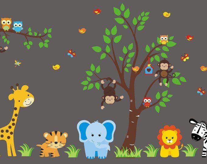 Animal Wall Decal Nursery Nursery Wall Decals Mural Jungle Animals Nursery Decor Children S Wall Stickers Wall Decals 83 X 156 Nursery Wall Decals Animal Wall Decals Baby Wall Decals