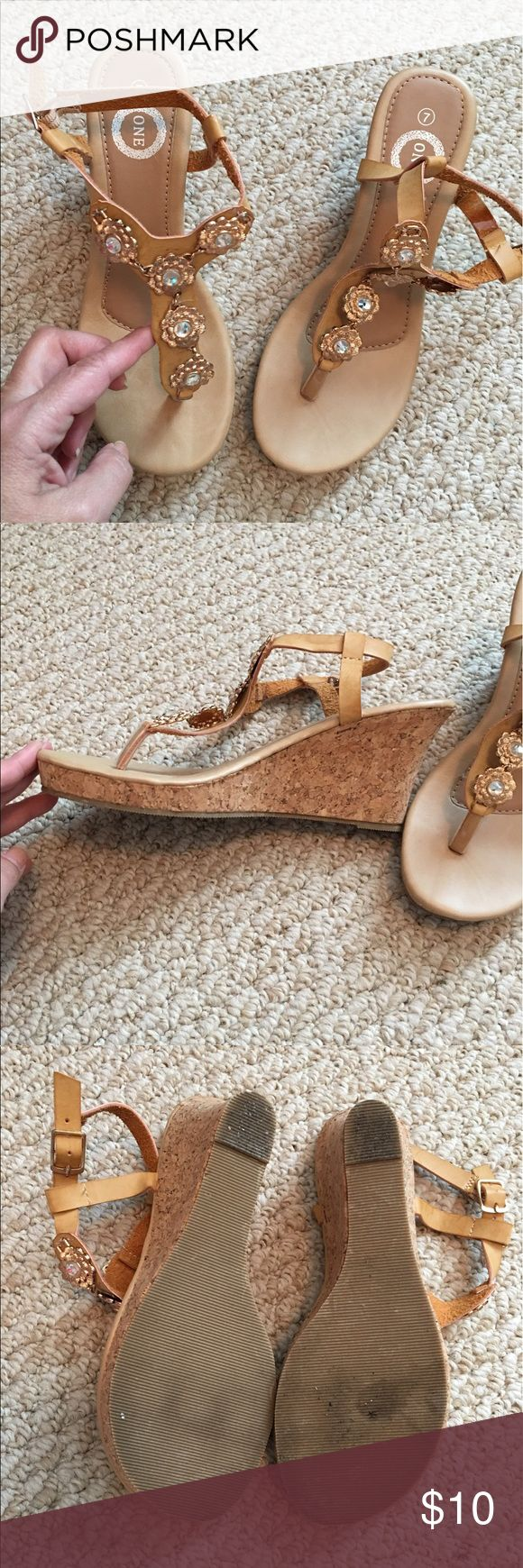 Ladies Wedge Sandals Size 7 Excellent preowned condition, never worn outside sandals. These fit true to size. ONE Shoes Wedges