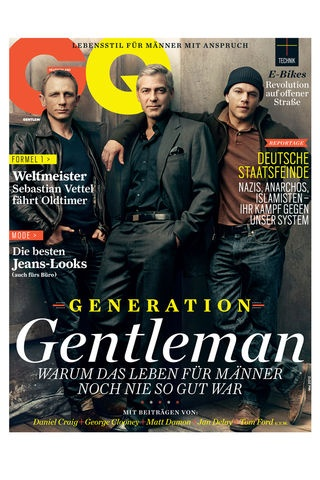 Daniel Craig, George Clooney & Matt Damon, GQ cover. Yum.