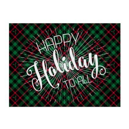 Holly Plaid l Happy Holidays To All Lawn Sign - patterns pattern special unique design gift idea diy
