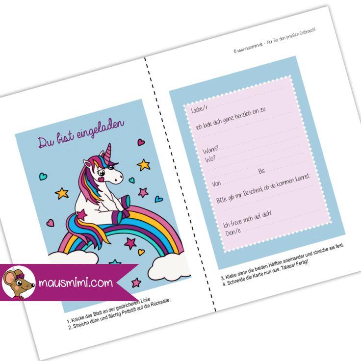 din a6 einladungskarte kindergeburtstag party einhorn