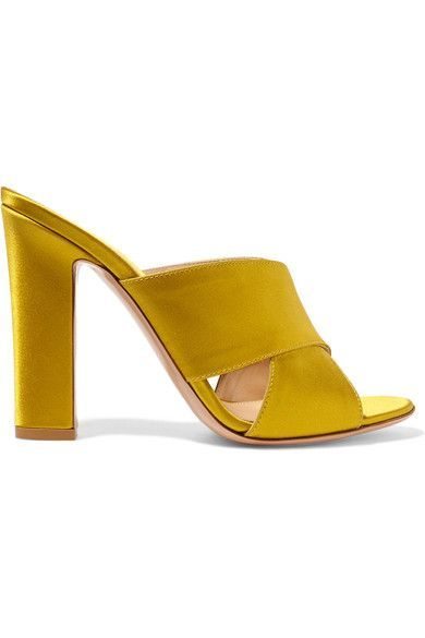 Heel measures approximately 105mm/ 4 inches Chartreuse satin Slip on Designer color: Mustard Made in Italy