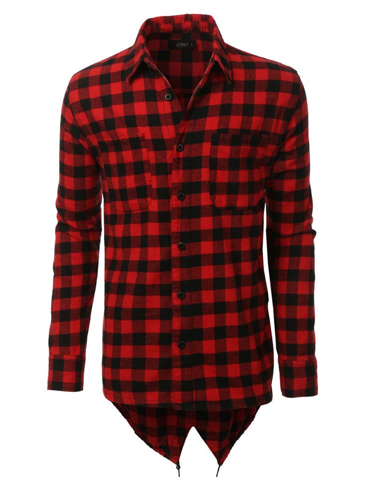LE3NO Mens Hipster Hip Hop Longline Flannel Plaid Shirt with Side Zippers