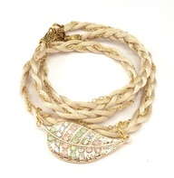 Wrap Bracelet Braided Satin and Chain with Gold Leaf by charmeddesign1012, $42.00, $42