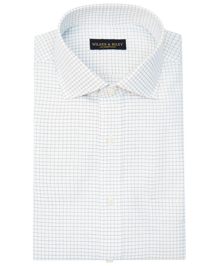 Slim Fit Grey Check English Spread Collar Supima® Cotton Non-Iron Twill Dress Shirt