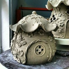Double walled carved cottage teapot!