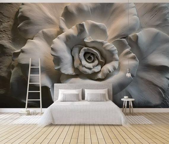 Floral Wallpaper 3d Embossed Look Cement Flower Wall Mural
