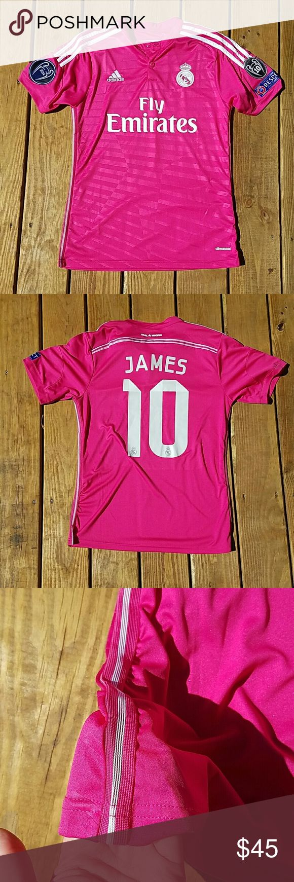 Fly Emirates Real Madrid James #10 jersey Hot pink Adidas Fly Emirates James jersey number 10. NWOT!! Real Madrid Adidas Tops Tees - Short Sleeve