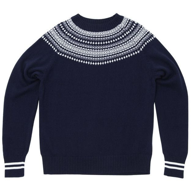 Nanamica COOLMAX Crew Neck Sweater (Navy & White) Bought at endclothing