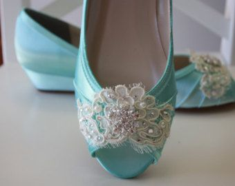 Handmade Lace Wedge Wedding Shoe -Choose From Over 100 Colors - Aqua Blue Wedding Shoes  - Lace Wedding Wedge Bridal Shoe By Parisxox