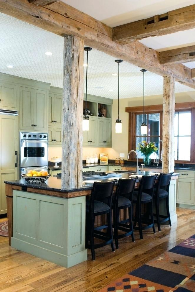 Image Result For Kitchen Islands With Support Posts Farmhouse Kitchen Design Rustic Farmhouse Kitchen Rustic Kitchen Design