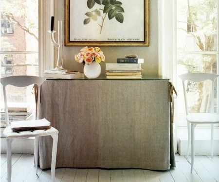 find this pin and more on skirted console table - Dining Room Consoles