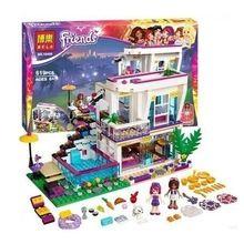 2016 Bela 619 stks Vrienden Serie Livi's Pop Star Huis Bouwstenen Andrea mini-pop Speelgoed Compatibel met Legoed Vrienden 41135(China (Mainland))