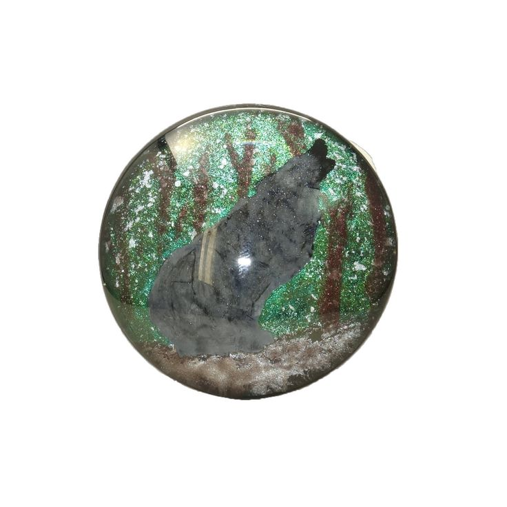 """Howling Wolf In The Woods Hand Painted Round Glass Cabochon, 1.5"""" (38mm), Pendant, Unique, Key Chain Charm, Cosplay Jewelry, Fantasy Art by TheChaoticMindStudio on Etsy"""