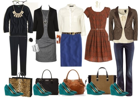 5 ways to wear Teal Wedges at Work... Great now I have to get teal wedges!!!