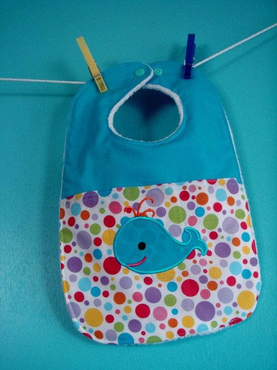 Baby Bib with Whale Applique Handmade by LilMissyandBubba on Etsy, $13.00