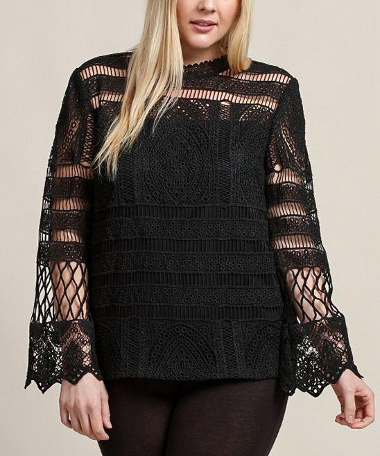 Black Crochet Top - Plus