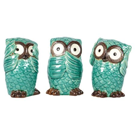 3 Piece Mizaru Owl Decor Set