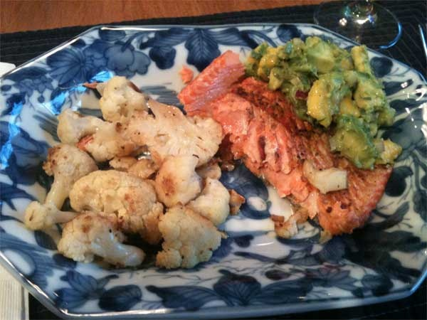 Grilled salmon with mango & avocado salsa (find a recipe online with ...