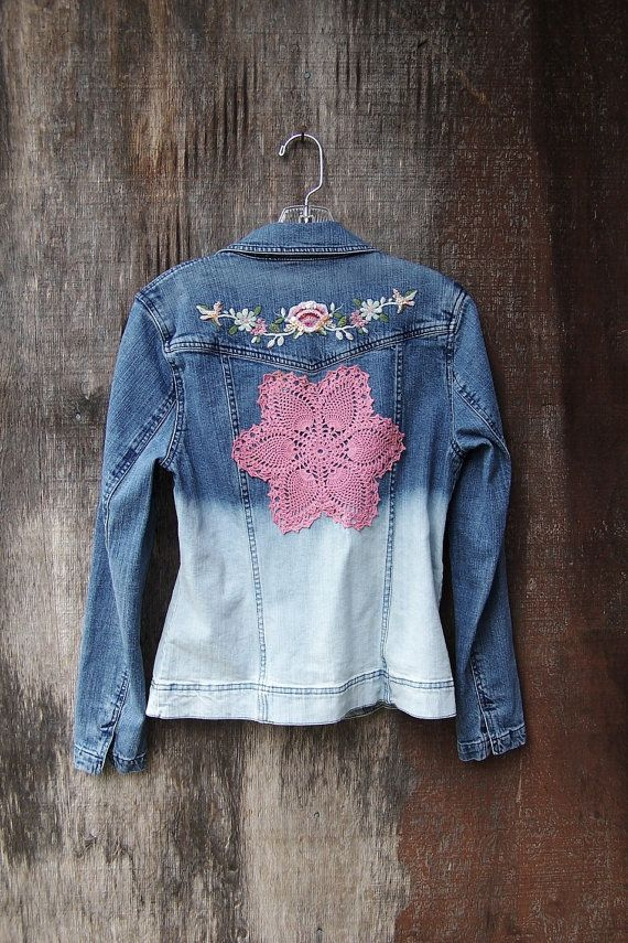 Ombre Denim Jacket Dip Dye Bleached Upcycled Festival