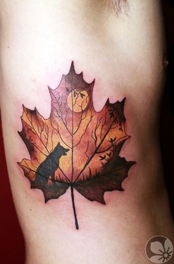 Sorce: springtattoo.com ------ maple leaf tattoo #maple #leaf #tattoo... If like this with an owl instead of the wolf BUT IT'S STILL GORGEOUS