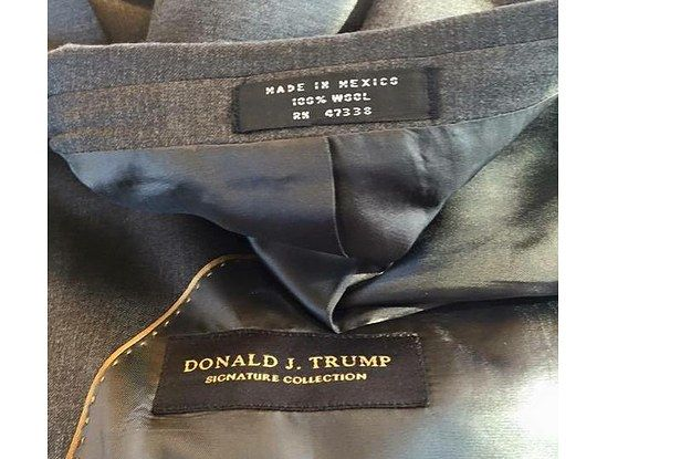 The image is from this woman's Facebook post.   People Are Really Enjoying This Image Showing Donald Trump's Clothing Made In Mexico