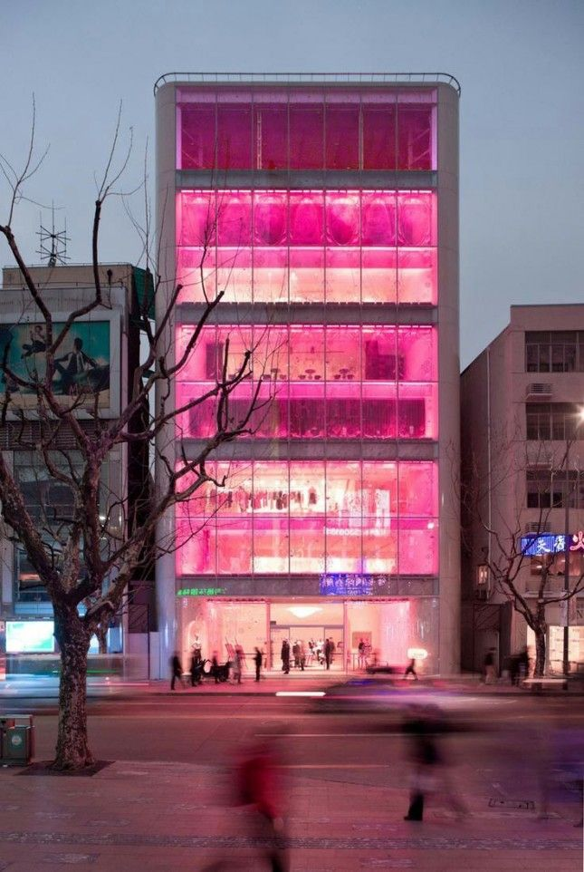 The 30 Most Colorful Buildings in the World via Brit + Co.  29. Barbie Store, Shanghai: Located along Huaihai Road, one of the most expensive shopping streets in China, Barbie Shanghai was the first Mattel flagship store in the world. Sadly, this Shanghai mega store had to shut its doors, but we pay tribute to the pop of pink that is no more.