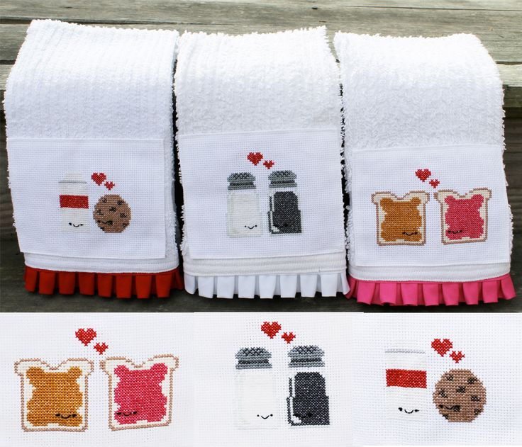 cute cross stitched dish towels - love the pb <3