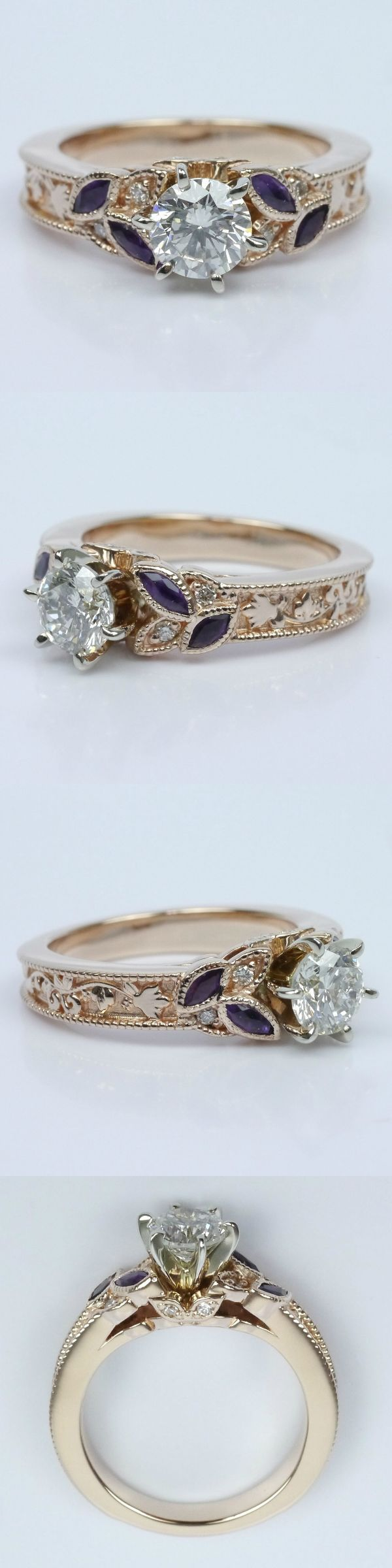 Vintage Diamond and Amethyst Floral Engagement Ring! Round .50 Ctw. Color: L Clarity: S12 Cut: Excellent Certification: EGL Diamond/Gem Cost: $580 Vintage Diamond and Amethyst Floral Ring Metal: 14K White Gold Side Shape: Round and Marquise Side Carat: .05/.40 Side Color: G-H/Medium Purple Side Clarity: VS2/Eye Clean  Side Cut: Ideal Prong Metal: 14k White Gold Setting Cost: $1,595 Total Cost: $2,175 www.brilliance.com