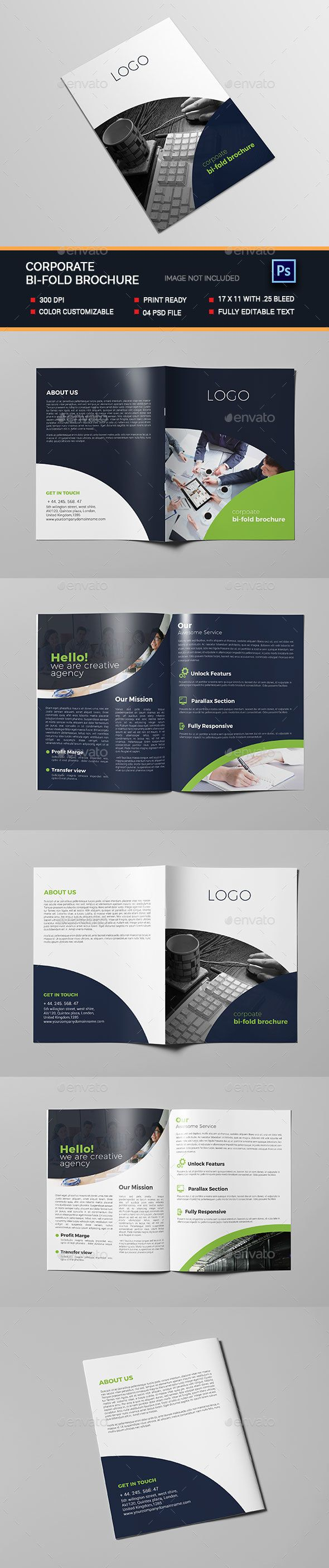 Corporate Bi-fold Brochure Template PSD. Download here: https://graphicriver.net/item/corporate-bifold-brochure/17381464?ref=ksioks