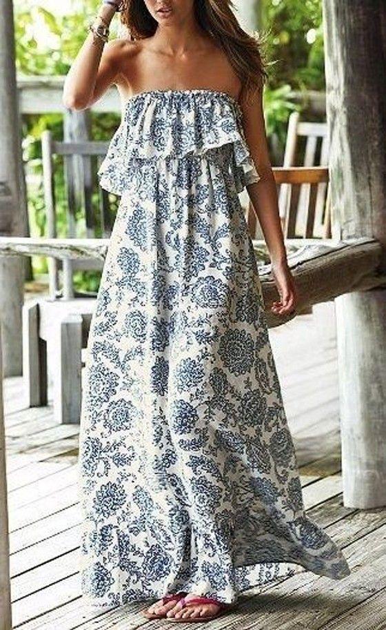 White Floral Bandeau Ruffle Vintage Sleeveless Maxi Dress - Maxi Dresses - Dresses