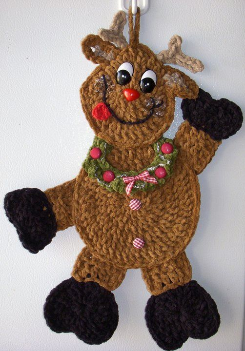 Crochet Reindeer, wall deco, by Jerre Lollman