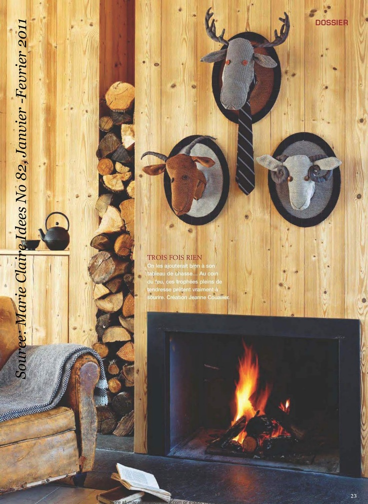 log storage and diy trophy decor for the wall