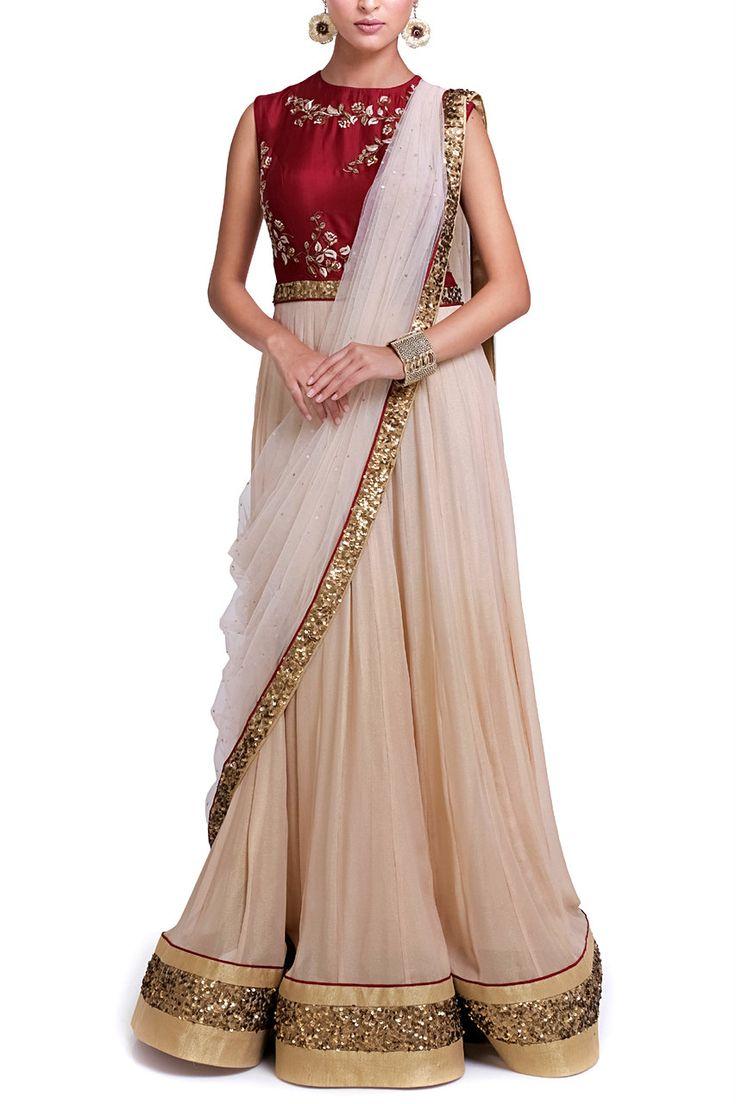 Zainah   Gold Shimmer Saree Anarakali   SCARLETBINDI.COM