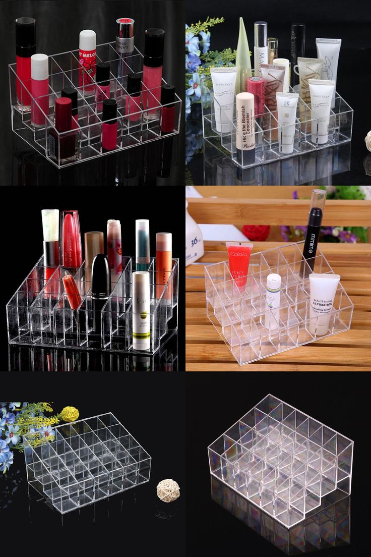 [visit To Buy] 24 Lipstick Holder Display Stand Clear Acrylic Cosmetic Anizer Makeup Case