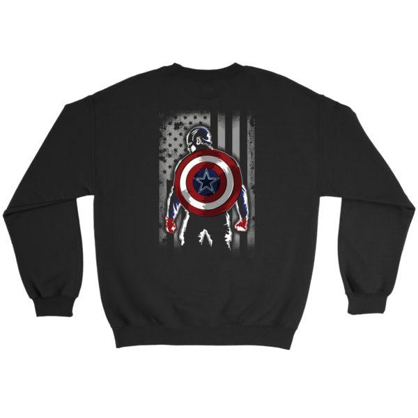 NFL - Dallas Cowboys Captain America Marvel Football American Flag  Sweatshirt-T-shirt-Crewneck Sweatshirt-Black-S-Itees Global  bfa23ed01