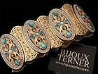 MODERN BIJOUX TERNER Goldt/Silvert & Turquoise Faux Crystal Elasticated BRACELET