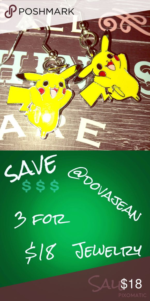 $$$ 3 for $18 $$$ Pokemon Picachu Earrings Pokemon Earrings Dovajean Jewelry Earrings