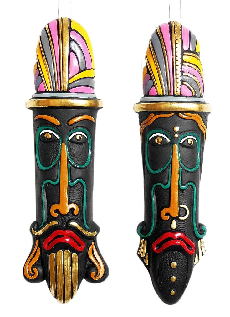 Set Of 2 Of African Masks Wall Hanging Tribal